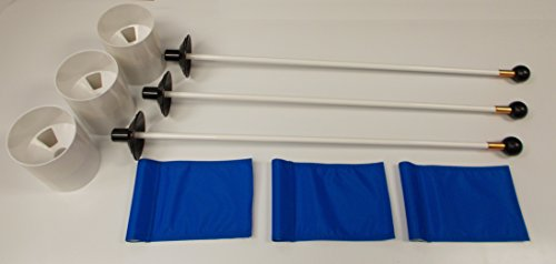 Golf Practice Putting Green - Deluxe Accessory Kit - (3) Bright White Plastic 6'' Deep Regulation Cups + (3) Solid Blue Jr Flags + (3) 30'' White Fiberglass Pin Markers with Ball Lifter Disk by ShopTJB