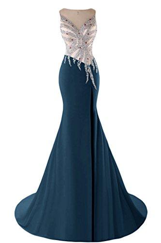sunvary Mermaid Sweetheart cuentas cristales de raso noche vestidos Homecoming Ink Blue