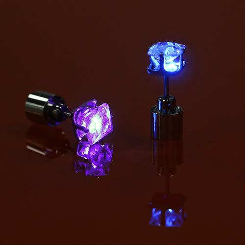 soAR9opeoF Opeof Earrings LED Light Ear Studs Square Earrings for Dance Christmas Halloween Party Multi-Color