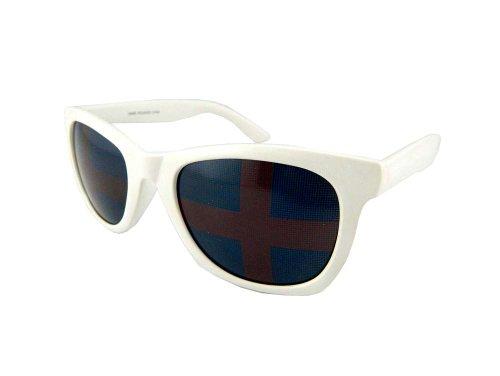 New Promotional Budget Wayfarer Retro Sunglasses - Flag Lens (White, Blue - Business Cruise Tom Sunglasses Risky