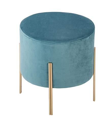 Atmosphera – Taburete de terciopelo azul 34 x 40 cm – Coleccion Blush Living, metal, azul, cm