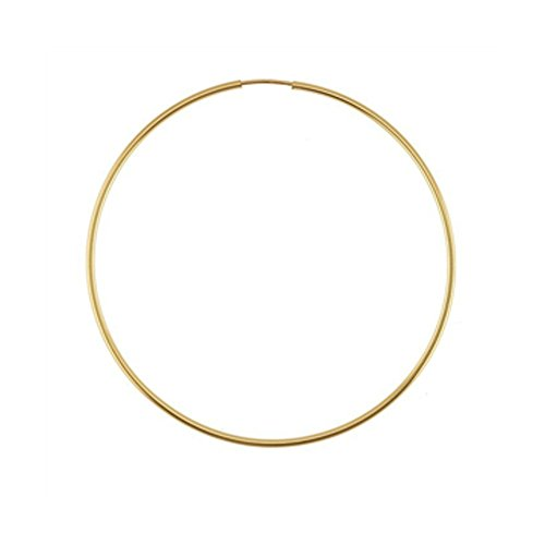 Designs by Nathan, 14K Yellow Gold Filled Seamless Endless Hoop Earrings, 7 Choices (Slender 1.3mm x 56.6mm)