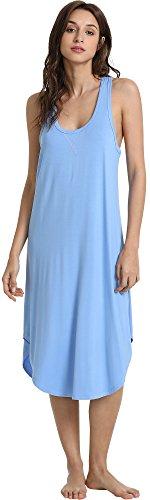 GYS Women's Racerback Bamboo Nightgown, Sky Blue, Medium