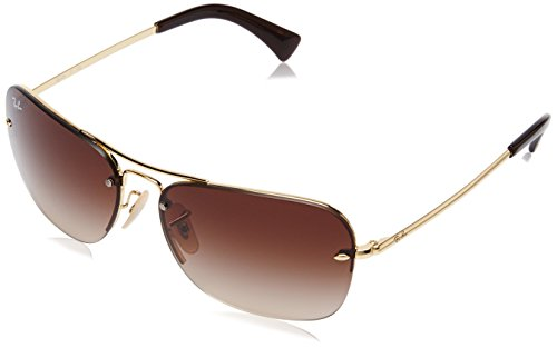 Ray-Ban METAL MAN SUNGLASS - GOLD Frame BROWN GRADIENT Lenses 61mm - Rimless Ray Sunglasses Ban