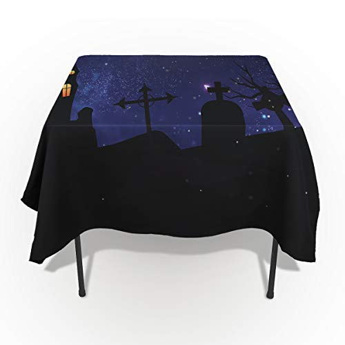 53 x 70 Inch Rectangle Tablecloth - Happy Halloween Night Castle Rectangular Polyester Table Cloth Table Covers Linen Decor - Great for Kitchen Table, Parties, Holiday Dinner, Wedding & More ()