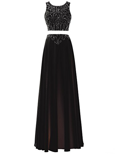 SOLOVEDRESS Women's Chiffon Beaded Long Evening Gown Two 2 Pieces Prom Dress Party Gown Bridesmaids (Chiffon Two Piece Bridesmaid Dress)