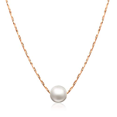 ORANGELOVE 18K Rose Gold Plated Jewelry Love Mom Necklace Chain Pendant (Imitation Pearl-Rose Gold Plated)