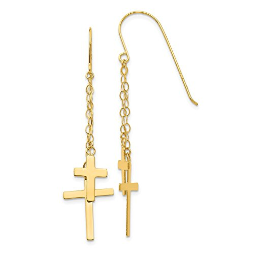 - 14k Yellow Gold Chain Drop Dangle Chandelier Cross Religious Shepherd Hook Earrings Fine Jewelry Gifts For Women For Her