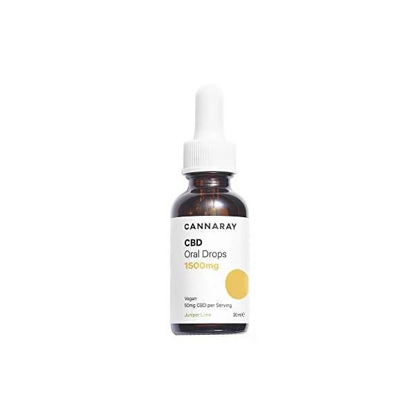 Cannaray CBD Oil Drops High Strength 1500mg Juniper Lime Flavour Vegan 30ml