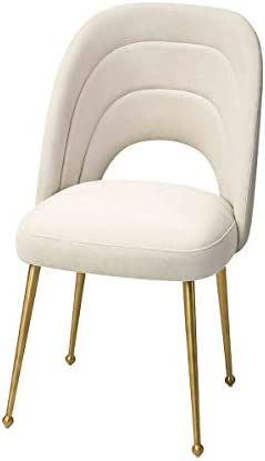 MEXIYA Sia Dining Chair Modern Beige Side Chair Easy Clean Velvet Upholstered Dining Chair