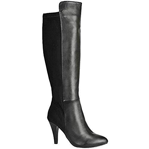 LADIES WOMENS KNEE HIGH HEELS LADIES LONG LEATHER SUEDE SEXY STILETTO THIGH BOOTS SIZE 3-8 black matt