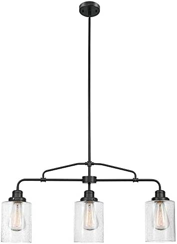 Globe Electric 60490 Annecy Pendant, Dark Bronze with Seeded Glass