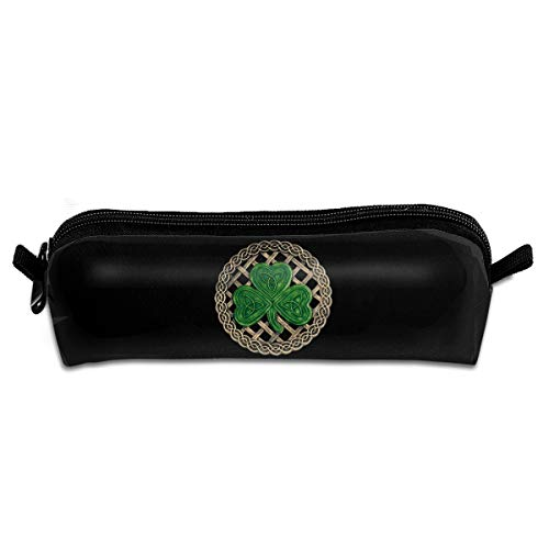 MOOTIL Shamrock Lattice and Celtic Knots On Black Printing Portable Pen Holder Stationery Pencil Pouch Cosmetic ()