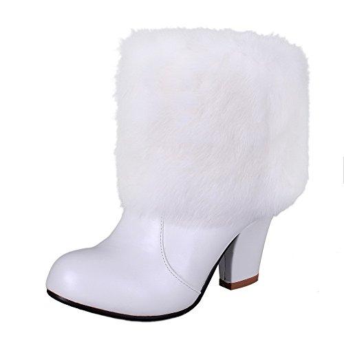 AgooLar Damen Blend-Materialien Rund Zehe Rein Niedrig-Spitze Hoher Absatz Stiefel, Weiß, 40