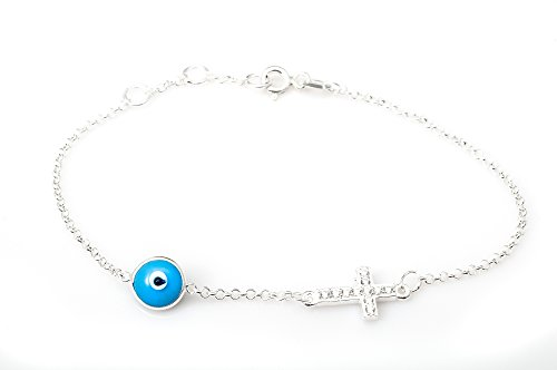 Eye Stone Cross (Evil Eye Store Blue Evil Eye Cross Silver Bracelet with Cz)
