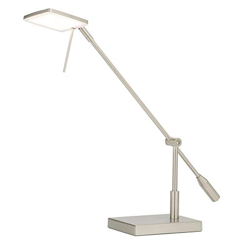 CO-Z Dimmable Brushed Nickel LED Desk Lamp with Adjustable Head, LED Task Light for Office Working Home Bedroom School Study Writing Computer Lighting, Pharmacy-Style Inspired Modern Desk Lamp