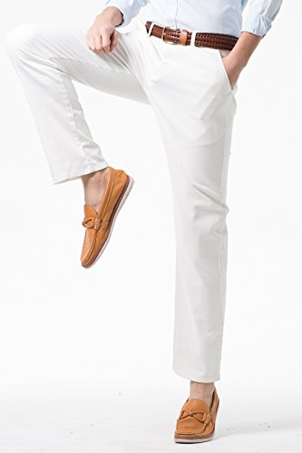 Men's Stretch Casual Pants Flat Front Regular Fit Dress Pants Trousers for Men,Size 34 White Pants by MIYA (Image #2)