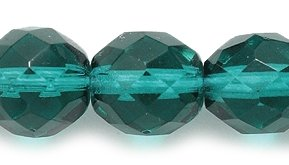 Preciosa Czech Fire 10mm Polished Glass Bead, Faceted Round, Transparent Emerald, 50-Pack