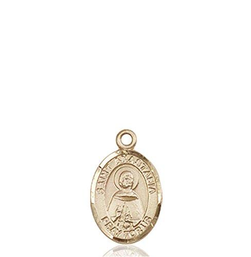 Solid 18K Gold Saint St. Anastasia Pendant Medal 1/2 x 1/4 Catholic Patron Saints Comes Gift-Ready with a Grey Velvet box