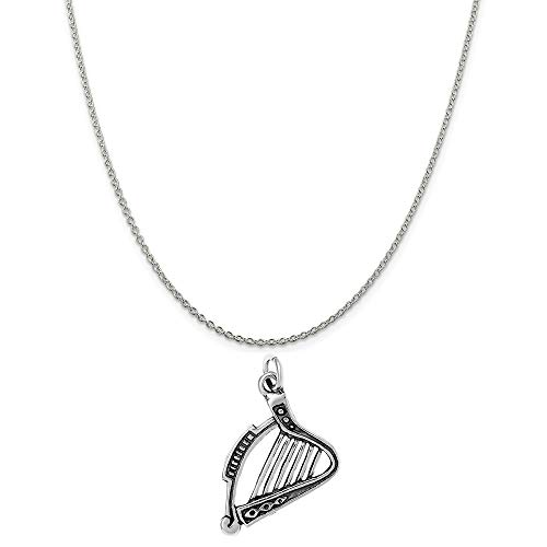(Raposa Elegance Sterling Silver Harp Instrument Charm on a Sterling Silver 20