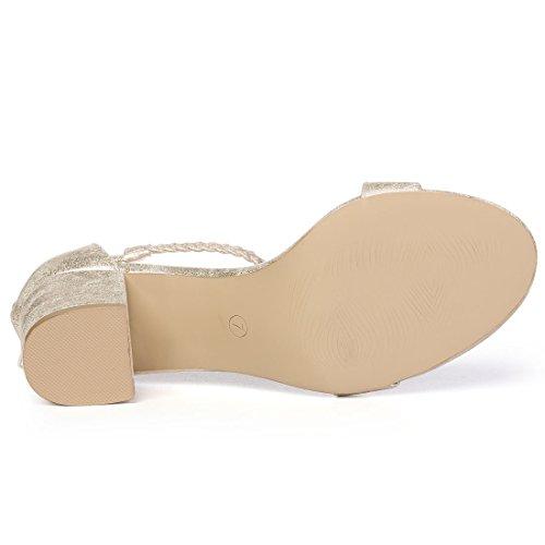 Allegra K Womens Braided Block Heel Sandals Gold Tone sQGbl9i13B