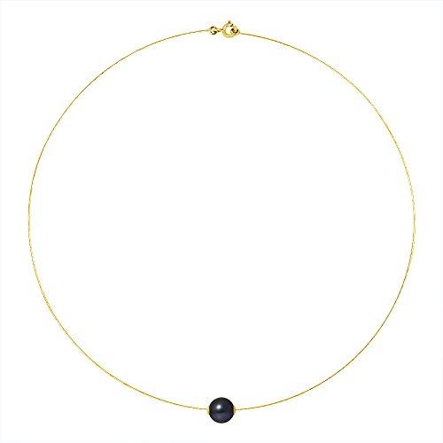 Pearls & Colors - Collier avec pendentif - Or jaune 9 cts - Perle d'eau douce - 42 cm - AM-9CC 116 R9J-BL