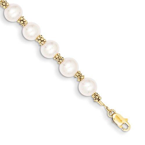 Icecarats Créatrice De Bijoux 14K D'Or Jaune Eau Douce Perle De Culture Bracelet En 7,25 Pouces