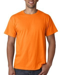 -  Fruit of the Loom Men's Short Sleeve Crew Tee, Large  - Safety Orange
