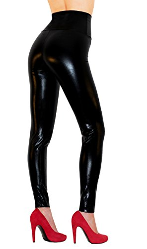Vinyl Pants (Sodacoda Women's Sexy High Waist Faux Leather Leggings - Wet Look Bright Black, M)