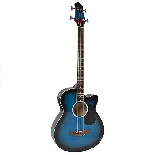 YMC Cutaway Electric Acoustic Bass Guitar Blue Solid Wood Construction With Equalizer-Blue ()