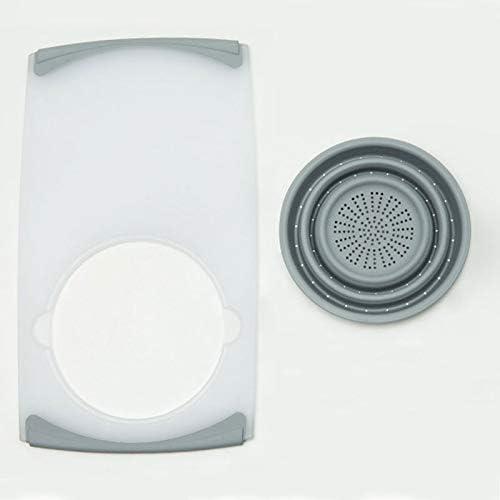 ZWH-ZWH まな板シンクボードプラスチック製多機能折りたたみシンクグレー、ホワイトをまな板肥厚まな板 ドレンバスケット