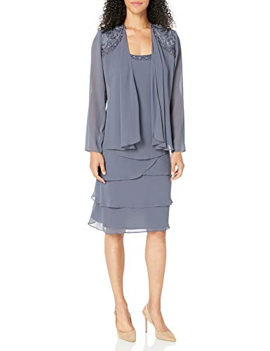 SL Fashions Women's Embellished Tiered Jacket Dress (Petite and Regular), Steel, 14