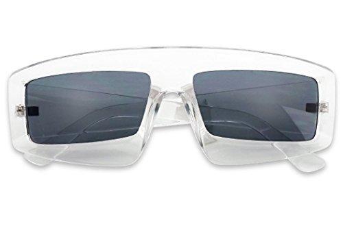 (SunglassUP Bold Sporty Block Shield Rectangle Sunglasses Designer Inspired Shades (Clear Frame |)