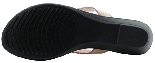 Cambridge Select Womens Studded Crystal Rhinestone Bead Chain Thong Flip-Flop Mid Wedge Sandal Pink johgHx