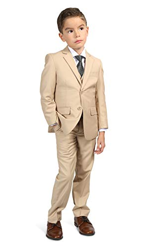 Ferrecci Boys Jax Jr Modern Fit Notch Lapel 5 Piece Suit Set Tan Size -