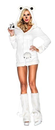 Leg Avenue Women's Snowy Polar Bear Fur Trimmed Dress with Hood And Furry Paw Ties, White, (Sexy Polar Bear Costume)