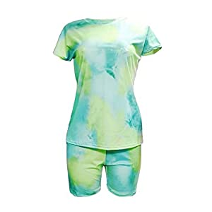 Ramoug Women Summer Tie Dye Colorful Print Two Piece Shorts Set Tracksuit Outfit