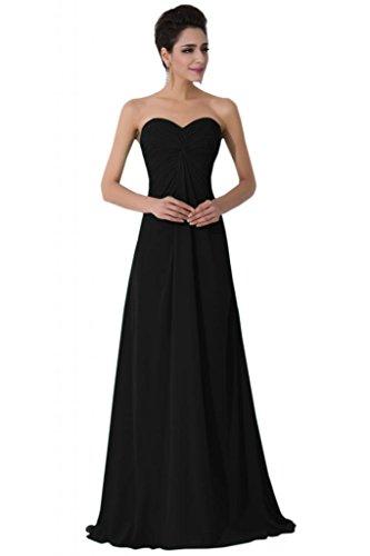 sunvary Sweetheart gasa Empire de la cintura largo vestidos de noche para novia negro