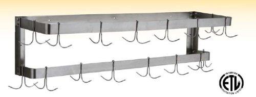 GSW 58'' Stainless Steel Wall Mounted Commercial Double Line Pot Rack with 5 Hooks. ETL PR-WM5 by GSW