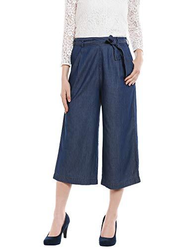 109 F Women Blended Blue Solid Culotte