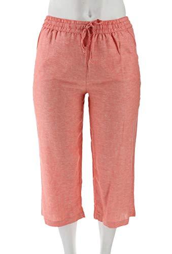 Liz Claiborne NY Jackie Cropped Linen Pants Deep Sea Coral 8P New -