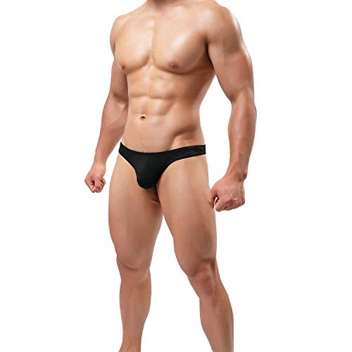 Sexy Men G-string - Pdbokew Men's Thongs Underwear G-String Quick-Drying Comfortable T-Back (US M(fit wasit32-35,Tag L), Black)