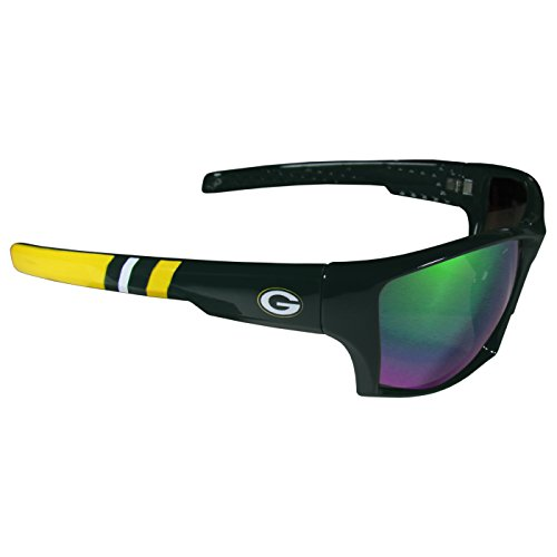 NFL Striped Team Sports Wrap Polarized Sunglasses (Green Bay Packers, Green | Green - Striped Sunglasses Mens