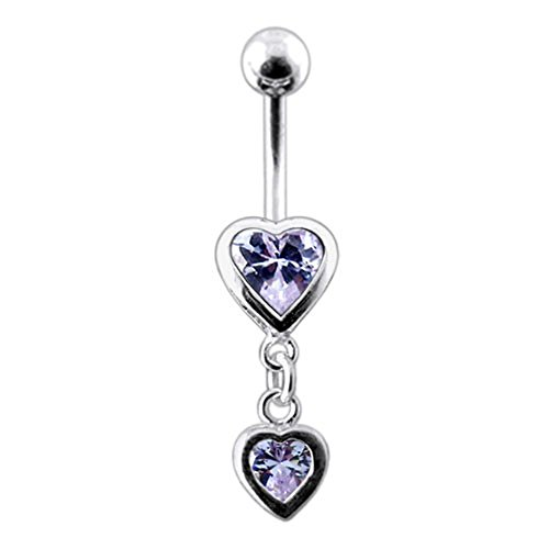 Lavender Gemstone Fancy Double Heart Dangling 925 Sterling Silver with Stainless Steel Belly Button (Fancy Double Heart)