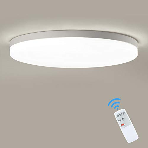 DLLT 30W Modern Dimmable Led Flushmount Ceiling Light Fixture with Remote-13 Inch Brightness Adjustable Close to Ceiling Lights for Living Room/Bedroom/Kitchen/Dining Room,Timing, 6000K,Cool Light