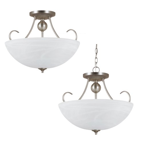 Sea Gull Lighting 77316-965 Convertible Semi-Flush/Pendant with White Alabaster Glass Shades, Antique Brushed Nickel (Antique Brushed Nickel Convertible)