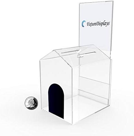 FixtureDisplays 1PK AcrylicSmall-House Shaped Donation Box 5 W x 10 H x 6 D with A Small Pad-Lock 14706G-1PK