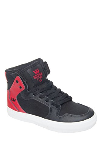Supra Kids Boy's Vaider (Little Kid/Big Kid) Black/Red Textured Leather Sneaker 1 Little Kid M
