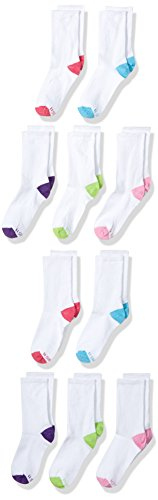 Hanes Girls' 10-Pack Crew Socks, Assorted Shoe Size, 10 1/2-4