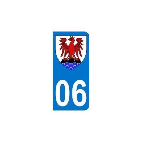 50%OFF Autocollant 06 avec blason Comté de Nice plaque immatriculation Auto (9,8 x 4,5 cm)